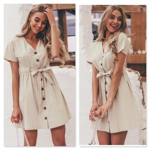 Linen Buttoned Mini Fit and Flared Belted Dress